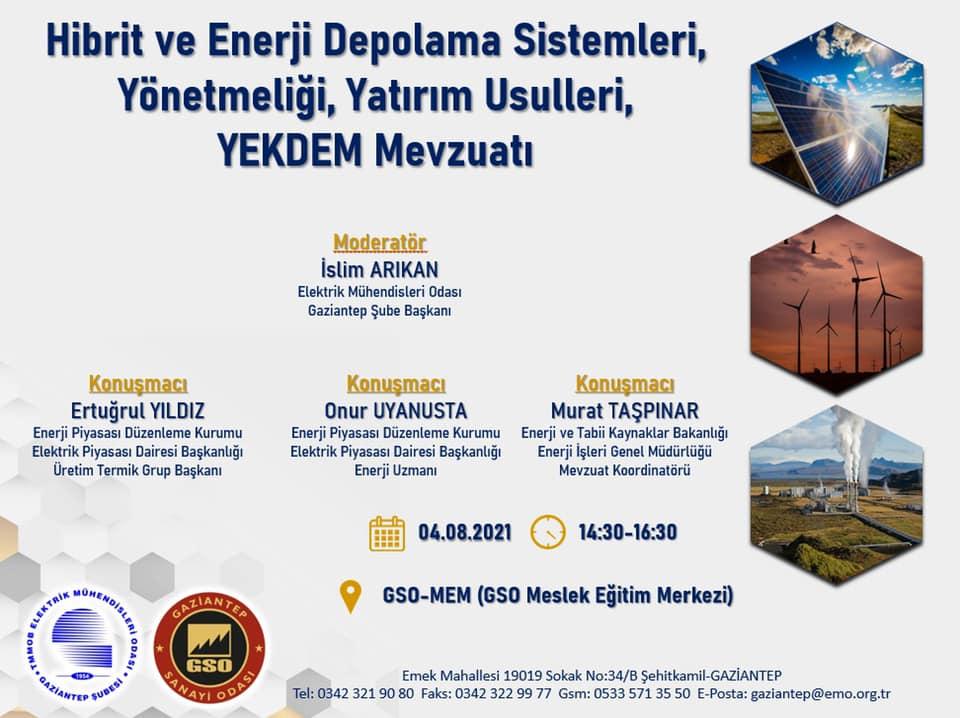 HİBRİT VE ENERJİ DEPOLAMA SİSTEMLERİ KONULU SEMİNER GAZİANTEP'TE GERÇEKLEŞİYOR